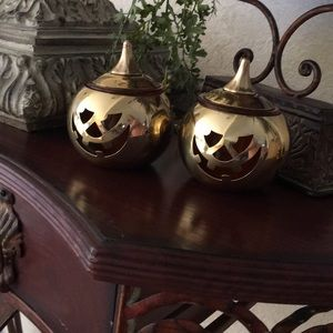 Set of Partylite brass jack-o-lantern votives